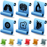 Biology 3D Scroll Button Set. Set of 6 3D Scroll Biology Buttons Royalty Free Stock Photography