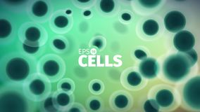Biology background. Abstract vector cells illustration. Microscope view. Horizontal banner Stock Image