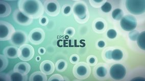 Biology background. Abstract vector cells illustration. Microscope view. Horizontal banner Royalty Free Stock Images