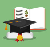 Biology book certificate graduation hat Royalty Free Stock Photography