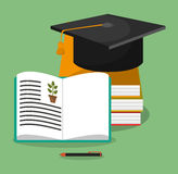 Biology books hat graduation Royalty Free Stock Image