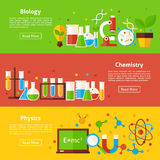 Biology Chemistry Physics Science Flat Horizontal Banners Royalty Free Stock Photography