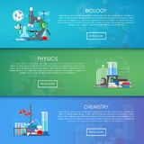 Biology, chemistry and physics vector banners. Science education concept poster in flat style design.  Stock Images
