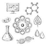 Biology and chemistry sketch icons. With fresh leaf surrounded by round icons depicting insects, microscope, computer, water, chemical analysis, atoms for Stock Images