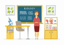 Biology Classroom - female teacher composition at the blackboard Royalty Free Stock Image