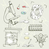Biology education equipment, cells, sketch icons Royalty Free Stock Photography