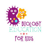 Biology education for kids logo symbol. Colorful hand drawn label Stock Image