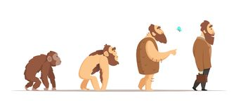 Biology evolution of homo sapiens. Vector characters in cartoon style. Biology human and neanderthal man, animal monkey progress illustration Royalty Free Stock Photo