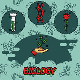 Biology flat concept icons Royalty Free Stock Photo