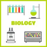 Biology flat icons laboratory workspace Royalty Free Stock Photography