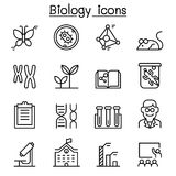 Biology icon set in thin line style. Vector illustration graphic design Stock Image