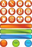 Biology Icon Set - Web Button Series. Set of 12 Biology Icons - Web Button Series Stock Illustration