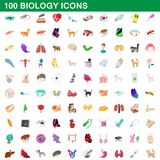 100 biology icons set, cartoon style. 100 biology icons set in cartoon style for any design illustration vector illustration