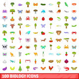 100 biology icons set, cartoon style. 100 biology icons set in cartoon style for any design vector illustration Royalty Free Stock Photo