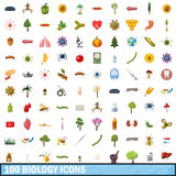 100 biology icons set, cartoon style. 100 biology icons set in cartoon style for any design vector illustration Royalty Free Stock Image