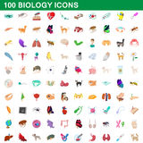 100 biology icons set, cartoon style. 100 biology icons set in cartoon style for any design vector illustration Stock Photo