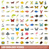 100 biology icons set, flat style. 100 biology icons set in flat style for any design vector illustration Stock Photos