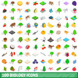 100 biology icons set, isometric 3d style Royalty Free Stock Photography