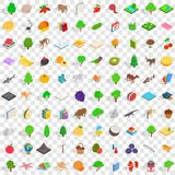 100 biology icons set, isometric 3d style Royalty Free Stock Photos