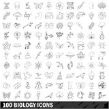 100 biology icons set, outline style Royalty Free Stock Photo