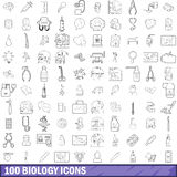 100 biology icons set, outline style. 100 biology icons set in outline style for any design vector illustration Stock Photography