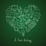 Biology. Icons in the shape of a heart Royalty Free Stock Photos