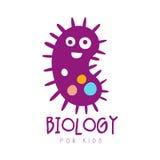 Biology for kids logo symbol. Colorful hand drawn label Stock Images