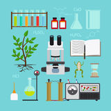 Biology laboratory icons. Biology and chemical laboratory icons. Vector illustration Stock Images