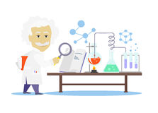 Biology Laboratory Workspace and Science Equipment Stock Image