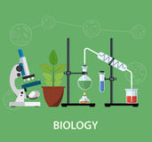 Biology laboratory workspace. And science equipment , microscope, conceptual Scientific research. vector illustration in flat design Royalty Free Stock Photography