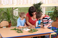 Biology lesson. In preschool - teacher and two boys royalty free stock image
