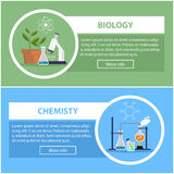 Biology and physics banners. concept of scientific equipment, work space Stock Photography