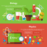 Biology and Physics Science Flat Website Banners Set. Biology and Physics Flat Website Banners Set. Vector Illustration for Website banner and landing page Stock Photos