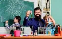 Biology school laboratory equipment. biology education. Microscope. back to school. experimenting with chemicals or stock image