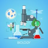 Biology science education concept vector poster in flat style design. School laboratory equipment Stock Images