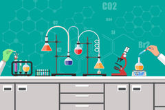 Biology science education equipment. Science Experiment in laboratory. Lboratory equipment, jars, beakers, flasks, microscope, spirit lamp, scales. Biology Stock Image