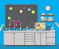 Biology science education equipment. Science Experiment in laboratory. Lboratory equipment, jars, beakers, flasks, microscope, spirit lamp, scales, computer Stock Image