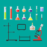 Biology science education equipment. Laboratory equipment, jars, beakers, flasks, microscope, spirit lamp, pipette, biology science education medical vector Royalty Free Stock Photo