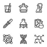 Biology science icon set, outline style royalty free illustration