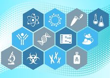 Biology science icons. Modern molecular biology science icons collection in hexagons Stock Photography