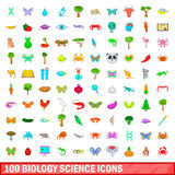 100 biology science icons set, cartoon style. 100 biology science icons set in cartoon style for any design vector illustration stock illustration