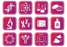 Biology science icons Stock Photography