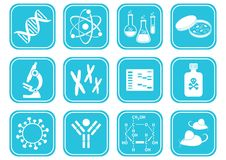 Biology science icons Royalty Free Stock Images
