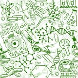 Biology seamless pattern. Seamless pattern background - illustration of biology drawings, doodle style Royalty Free Stock Photo