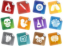 Biology Sticker Buttons Set Stock Photo
