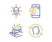 Biométrica de la cara, cuidado de piel y sistema médico de los iconos del teléfono Muestra de la identificación de la cara Vector libre illustration