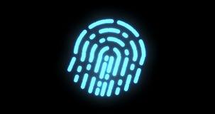 Biométrica de la huella dactilar Proceso digital futurista del escáner biométrico de la huella dactilar luz del centelleo stock de ilustración