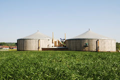 Biomass. Renewable energy with a biogas facility royalty free stock photography