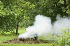 Biomass burning. A huge smoke during outdoor biomass burning royalty free stock image