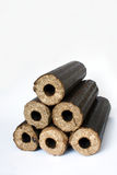 Biomass compressed briquettes Stock Image